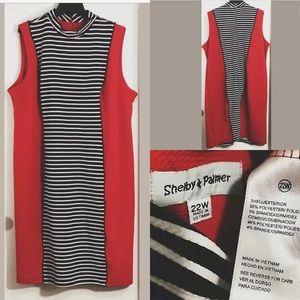 Shelby & Palmer colorblock plus Sz sheath dress